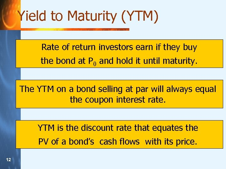 Yield to Maturity (YTM) Rate of return investors earn if they buy the bond