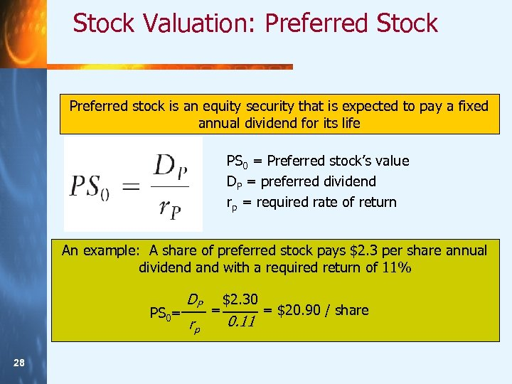 Stock Valuation: Preferred Stock Preferred stock is an equity security that is expected to