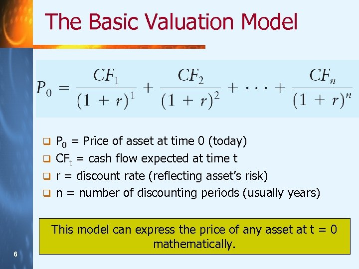 The Basic Valuation Model P 0 = Price of asset at time 0 (today)