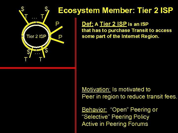 $ $ T … T Ecosystem Member: Tier 2 ISP P Def: A Tier