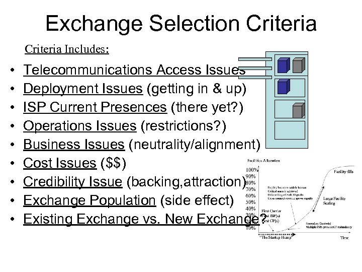 Exchange Selection Criteria Includes: • • • Telecommunications Access Issues Deployment Issues (getting in