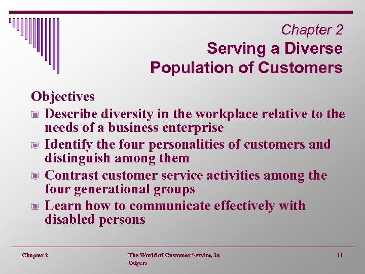 Chapter 2 Serving a Diverse Population of Customers Objectives Describe diversity in the workplace