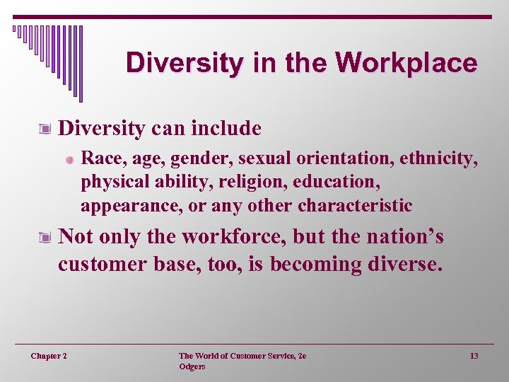 Diversity in the Workplace Diversity can include Race, age, gender, sexual orientation, ethnicity, physical