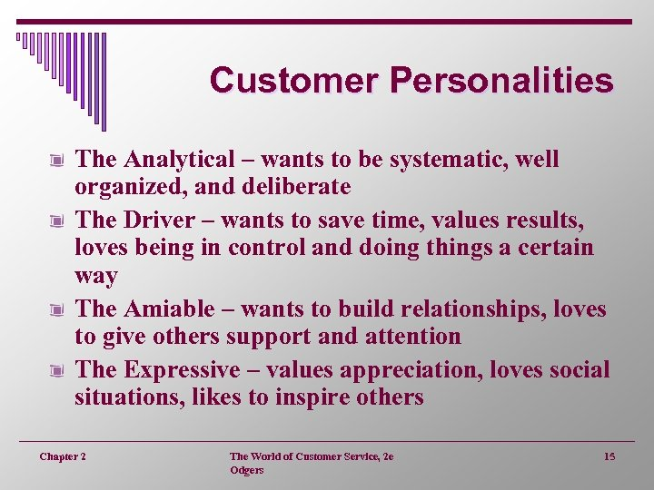 Customer Personalities The Analytical – wants to be systematic, well organized, and deliberate The