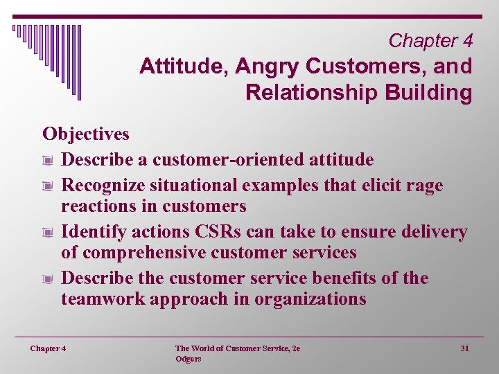 Chapter 4 Attitude, Angry Customers, and Relationship Building Objectives Describe a customer-oriented attitude Recognize