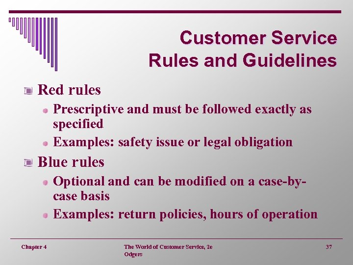 Customer Service Rules and Guidelines Red rules Prescriptive and must be followed exactly as