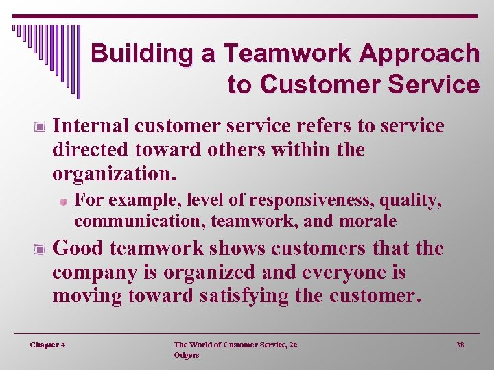 Building a Teamwork Approach to Customer Service Internal customer service refers to service directed