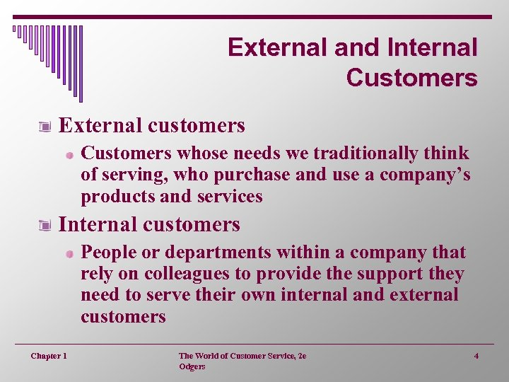 External and Internal Customers External customers Customers whose needs we traditionally think of serving,