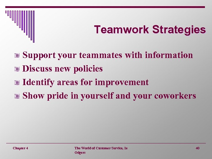 Teamwork Strategies Support your teammates with information Discuss new policies Identify areas for improvement
