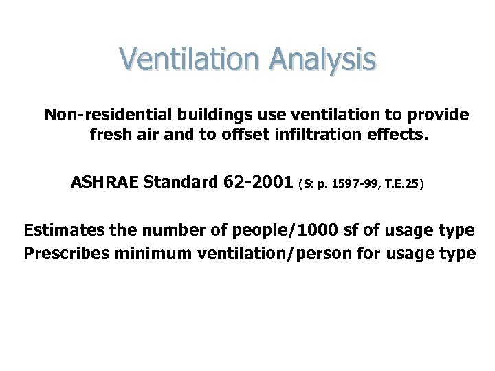Ventilation Analysis Non-residential buildings use ventilation to provide fresh air and to offset infiltration
