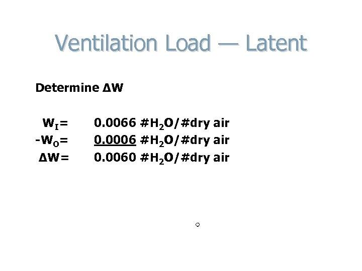 Ventilation Load — Latent Determine ΔW W I= -WO= ΔW= 0. 0066 #H 2