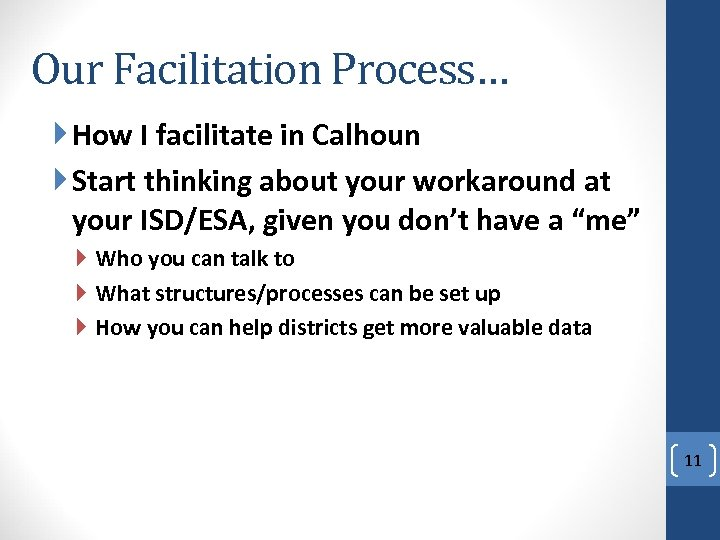 Our Facilitation Process… How I facilitate in Calhoun Start thinking about your workaround at