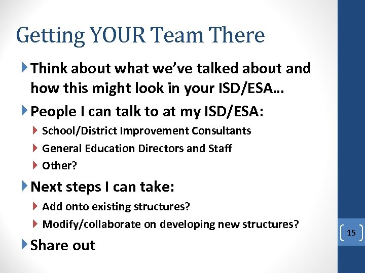 Getting YOUR Team There Think about what we've talked about and how this might