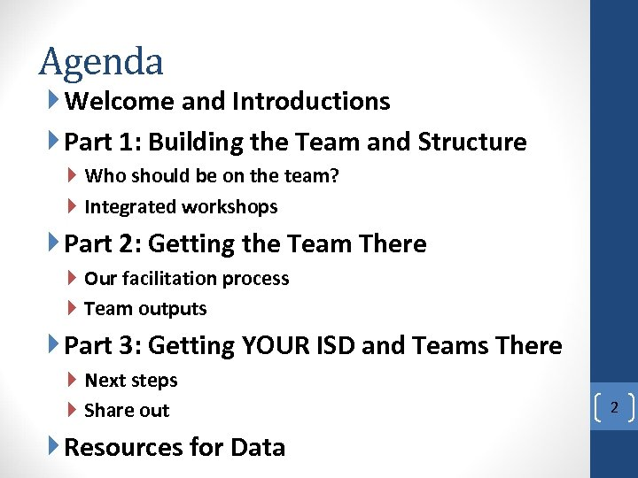 Agenda Welcome and Introductions Part 1: Building the Team and Structure Who should be