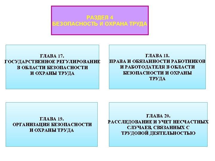 РАЗДЕЛ 4 БЕЗОПАСНОСТЬ И ОХРАНА ТРУДА ГЛАВА 17. ГОСУДАРСТВЕННОЕ РЕГУЛИРОВАНИЕ В ОБЛАСТИ БЕЗОПАСНОСТИ И