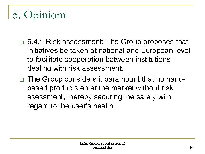 5. Opiniom q q 5. 4. 1 Risk assessment: The Group proposes that initiatives
