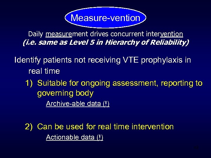 Measure-vention Daily measurement drives concurrent intervention (i. e. same as Level 5 in Hierarchy