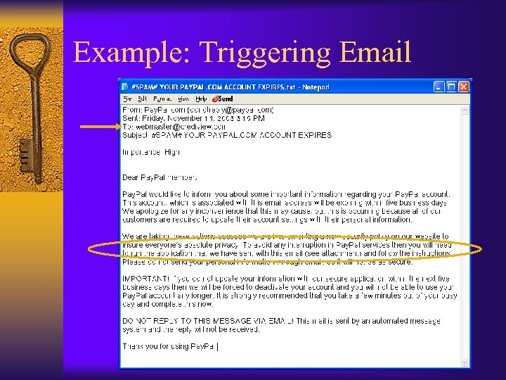 Example: Triggering Email