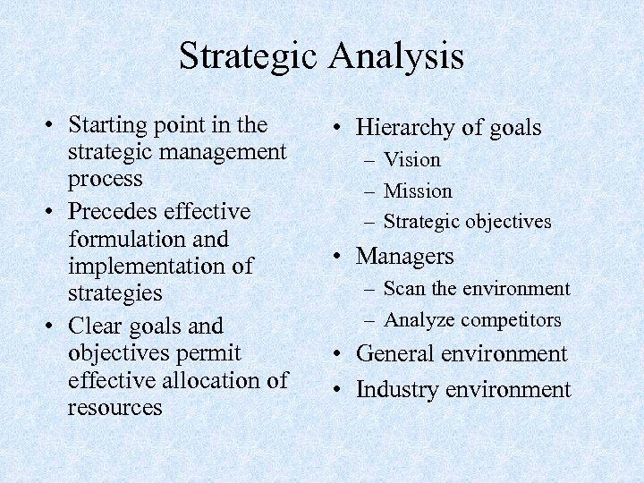 Strategic Analysis • Starting point in the strategic management process • Precedes effective formulation