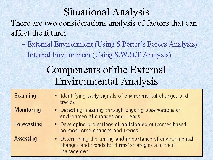 Situational Analysis There are two considerations analysis of factors that can affect the future;