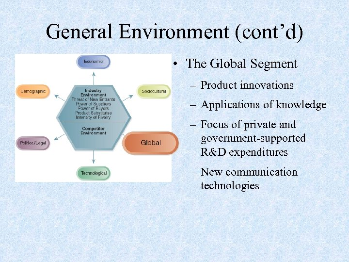General Environment (cont'd) • The Global Segment – Product innovations – Applications of knowledge