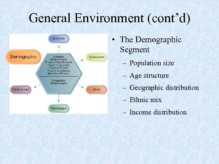 General Environment (cont'd) • The Demographic Segment – Population size – Age structure –