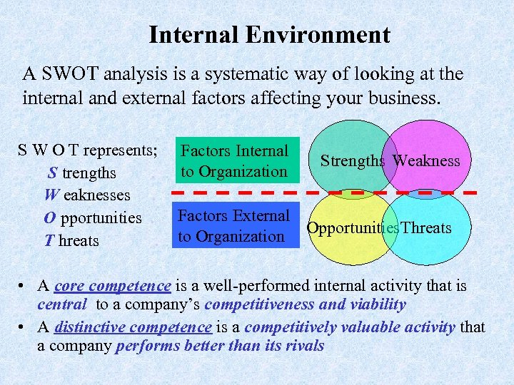 Internal Environment A SWOT analysis is a systematic way of looking at the internal