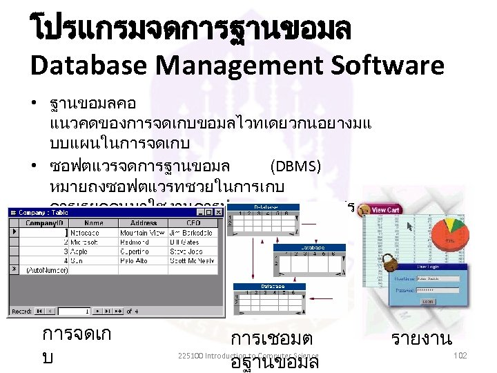 โปรแกรมจดการฐานขอมล Database Management Software • ฐานขอมลคอ แนวคดของการจดเกบขอมลไวทเดยวกนอยางมแ บบแผนในการจดเกบ • ซอฟตแวรจดการฐานขอมล (DBMS) หมายถงซอฟตแวรทชวยในการเกบ การเรยกคนมาใชงานการทำรายงาน การสรปผลจากขอมล