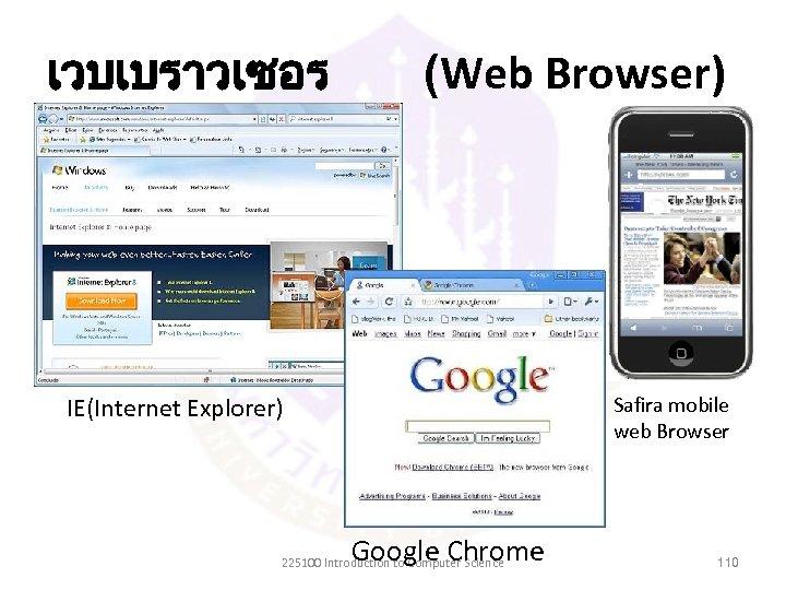 เวบเบราวเซอร (Web Browser) IE(Internet Explorer) Safira mobile web Browser Google Chrome 225100 Introduction to