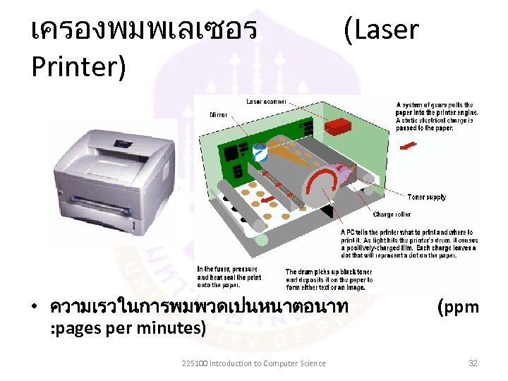 เครองพมพเลเซอร Printer) (Laser • ความเรวในการพมพวดเปนหนาตอนาท : pages per minutes) 225100 Introduction to Computer Science