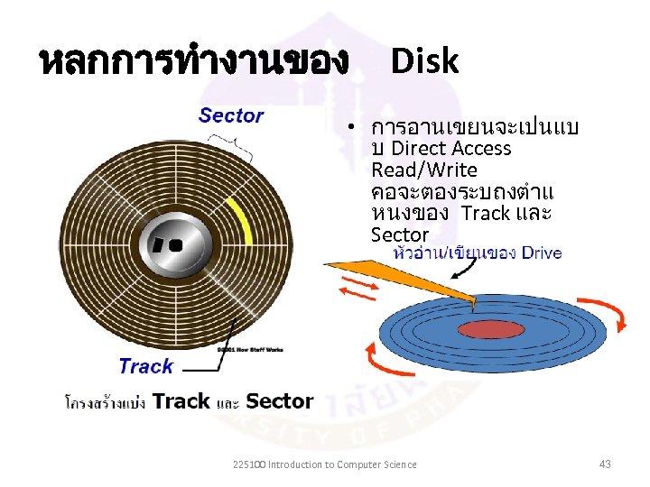 หลกการทำงานของ Disk • การอานเขยนจะเปนแบ บ Direct Access Read/Write คอจะตองระบถงตำแ หนงของ Track และ Sector ทตองการอานหรอเข