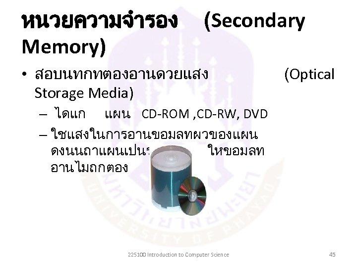หนวยความจำรอง Memory) (Secondary • สอบนทกทตองอานดวยแสง Storage Media) (Optical – ไดแก แผน CD-ROM , CD-RW,