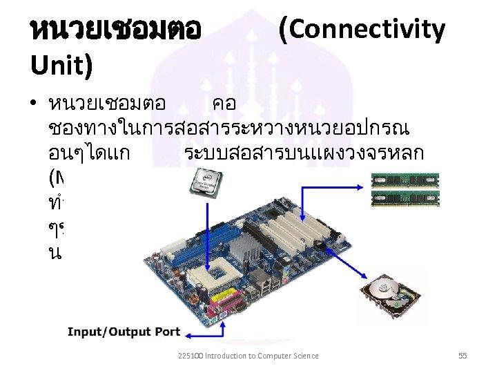 หนวยเชอมตอ Unit) (Connectivity • หนวยเชอมตอ คอ ชองทางในการสอสารระหวางหนวยอปกรณ อนๆไดแก ระบบสอสารบนแผงวงจรหลก (Mainboard) ทำหนาทเปนตวเชอมโยงอปกรณตาง ๆของคอมพวเตอรใหสามารถสอสารและทำงา นรวมกนได 225100