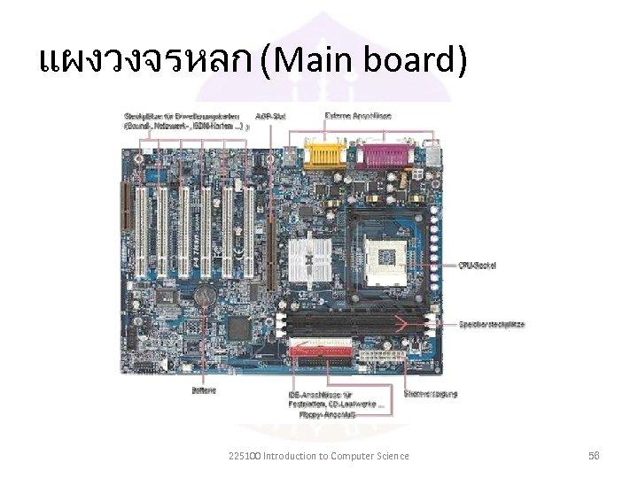 แผงวงจรหลก (Main board) 225100 Introduction to Computer Science 56