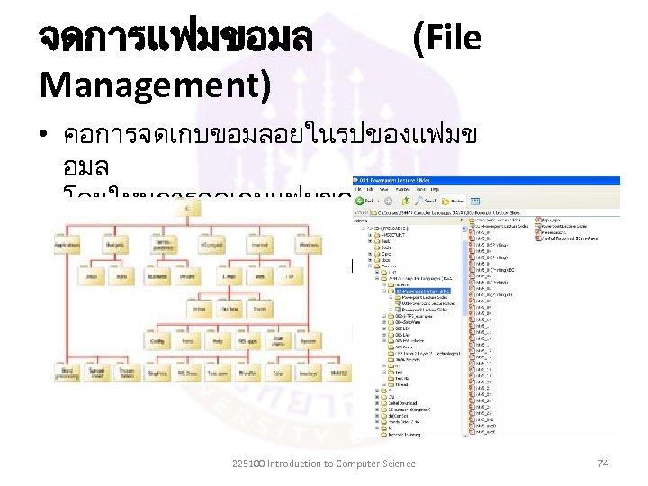 จดการแฟมขอมล Management) (File • คอการจดเกบขอมลอยในรปของแฟมข อมล โดยใหมการจดเกบแฟมขอมลทมโครง สรางทเปนระบบ จงทำใหสะดวกและรวดเรวตอการคนหา 225100 Introduction to Computer Science