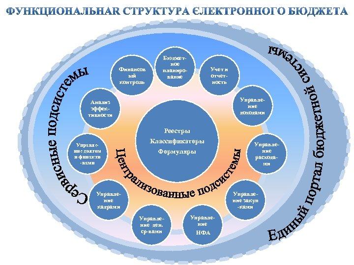 Финансов ый контроль Бюджетное планирование Учет и отчетность Управление доходами Анализ эффективности Реестры Управление