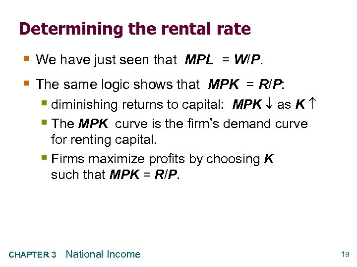Determining the rental rate § We have just seen that MPL = W/P. §
