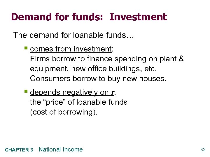 Demand for funds: Investment The demand for loanable funds… § comes from investment: Firms