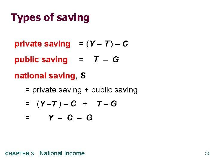 Types of saving private saving = (Y – T ) – C public saving