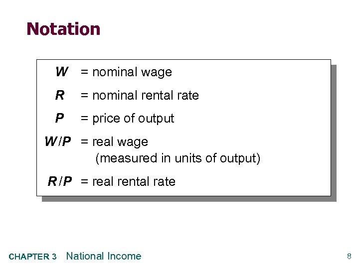 Notation W = nominal wage R = nominal rental rate P = price of