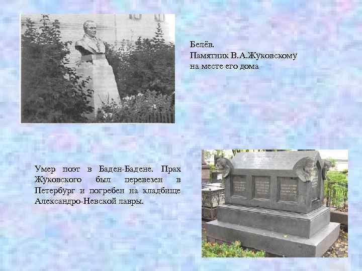 Белёв. Памятник В. А. Жуковскому на месте его дома Умер поэт в Баден-Бадене. Прах