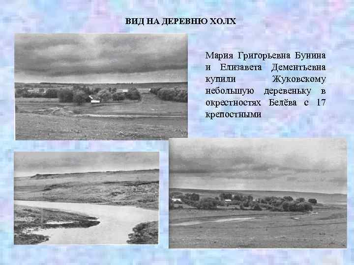 ВИД НА ДЕРЕВНЮ ХОЛХ Мария Григорьевна Бунина и Елизавета Дементьевна купили Жуковскому небольшую деревеньку