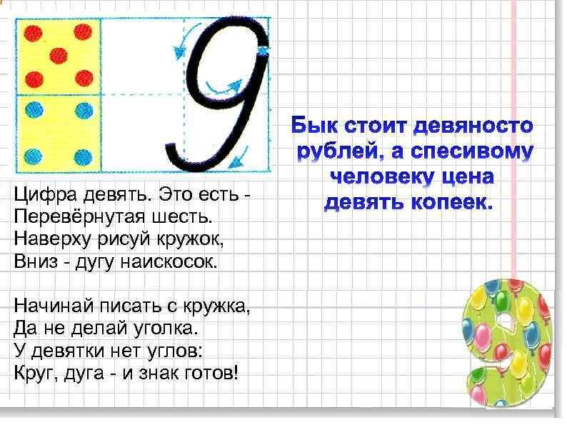 Рисунки нарисованные, цифра 9 в картинках 1 класс