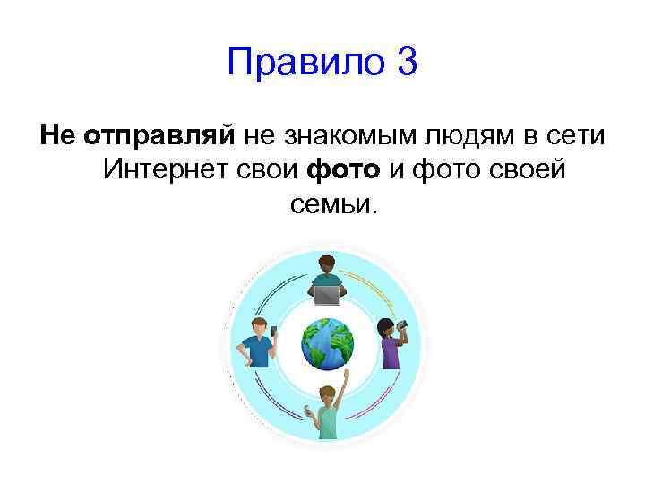 Правило 3 Не отправляй не знакомым людям в сети Интернет свои фото своей семьи.