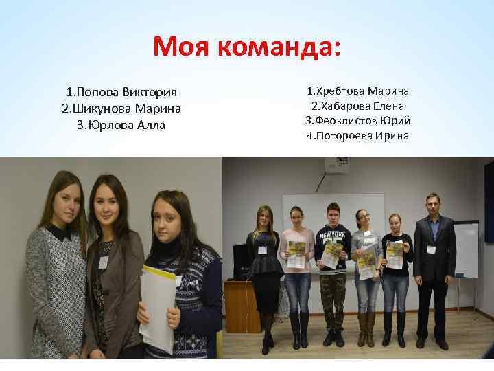 Моя команда: 1. Попова Виктория 2. Шикунова Марина 3. Юрлова Алла 1. Хребтова Марина