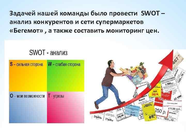 Задачей нашей команды было провести SWOT – анализ конкурентов и сети супермаркетов «Бегемот» ,