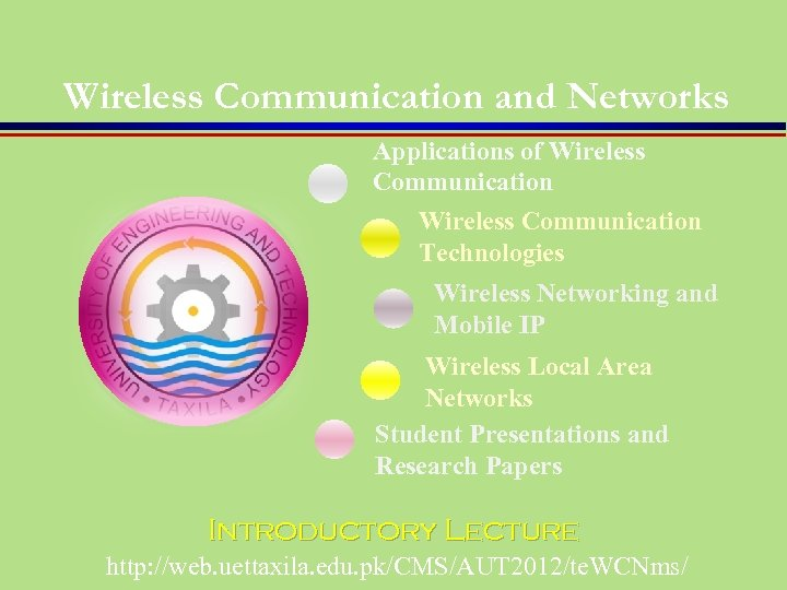 Wireless Communication and Networks Applications of Wireless Communication Technologies Wireless Networking and Mobile IP