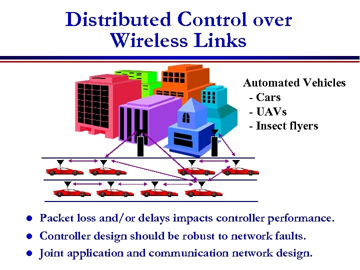 Distributed Control over Wireless Links Automated Vehicles - Cars - UAVs - Insect flyers