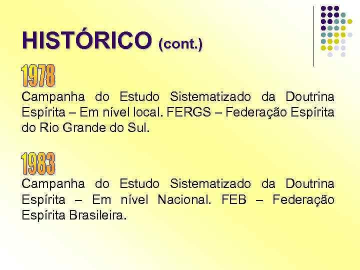 HISTÓRICO (cont. ) Campanha do Estudo Sistematizado da Doutrina Espírita – Em nível local.