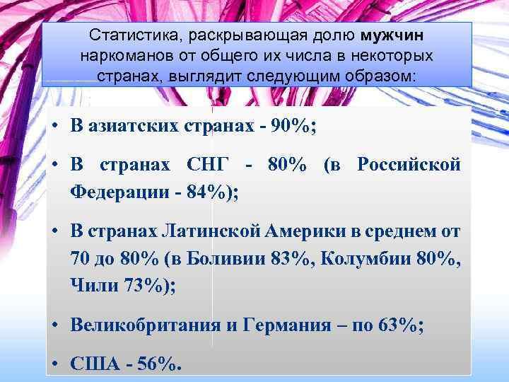 Статистика, раскрывающая долю мужчин наркоманов от общего их числа в некоторых странах, выглядит следующим